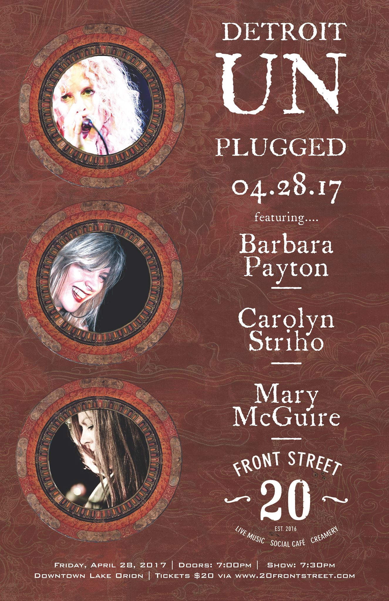 Barbara Payton, Carolyn Striho and Mary McGuire to perform at the gorgeous 20 Front Street in downtown Lake Orion.