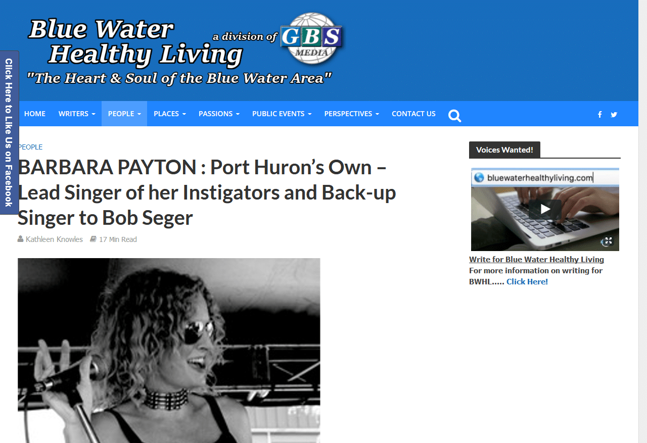 Barbara Payton Featured on Blue Healthy Living