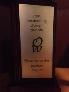 Barbara Payton receives Women in the Arts Award from Outstanding Women Awards